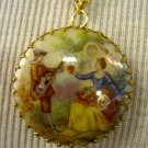 Cameo Pendant, Man and Woman Victorian Era Print, Gold Chain