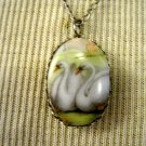 Small Oval Cameo Necklace, Swan Print, Silver Chain