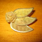 Vintage Gold Colored Mesh Rose and Leaf Pin Brooch