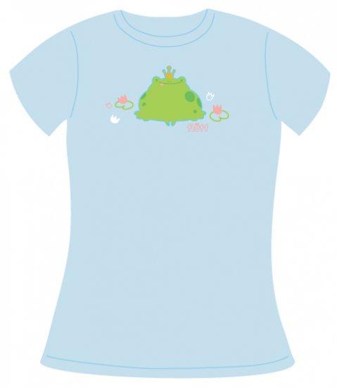 Light Blue Tee, Frog Prince Print, Size Small