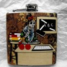 Stainless Steel Flask - 6oz., Day of the Dead Skeleton Teacher in Classroom