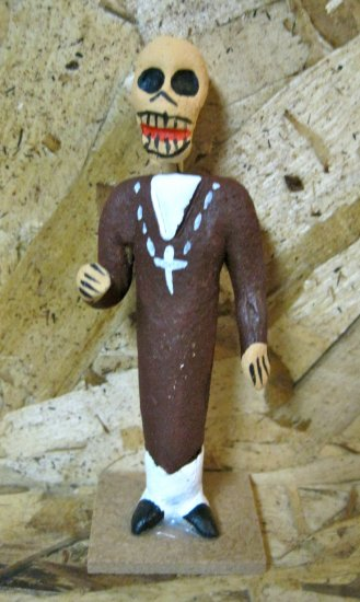 Clay Day of the Dead Figure, Priest in Brown Robe