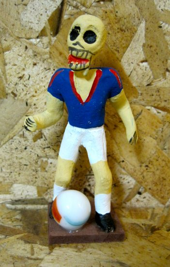 Clay Day of the Dead Figure, Soccer Player with Ball