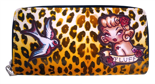 Leopard Pattern Wallet with Pin Up Girl and Sparrow Cutouts