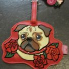 Vinyl Pug Tattooed Pooch Luggage Tag