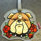Vinyl Bull Dog Tattooed Pooch Luggage Tag