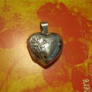Real Silver Heart Locket with Roses Design, Pendant