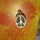 Silver Peace Sign on Marbled Tan Stone, Pendant