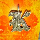 """Silver Letter """"K"""" with Rhinestones Pendant"""