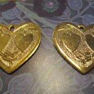 Set of Three Gold Colored Heart Pendants