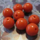 Retro Orange Plastic Round Beads, 40 Pcs