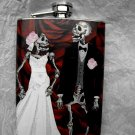 Stainless Steel Flask - 8oz., Day of the Dead Skeleton Bride and Groom