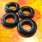 Set of Four Black Round Stone Beads
