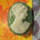 Green and White Cameo Pin