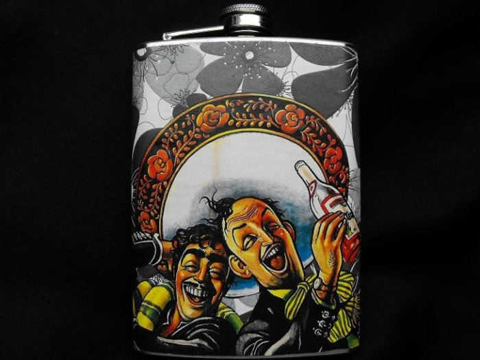 Stainless Steel Flask - 8oz., Two Men in Sombreros with Flower Background