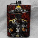 Stainless Steel Flask - 8oz., Bandit with Rose Background