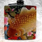 Stainless Steel Flask - 6oz., Koi Fish with Colorful Flower Background