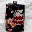 Stainless Steel Flask - 8oz., Owl with Black Background and Flowers
