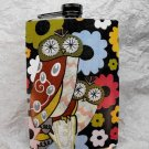 Stainless Steel Flask - 8oz., Owl with Colorful Flower Background