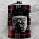 Stainless Steel Flask - 8oz., Frankenstein with Plaid Background