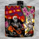 Stainless Steel Flask - 6oz., Day of the Dead Skeleton with Guitar on Colorful Print Background