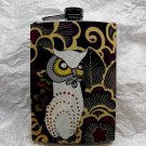 Stainless Steel Flask - 8oz., Owl with Swirling Dark Background