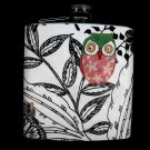 Stainless Steel Flask - 6oz., Colorful Owl on Black and White Background