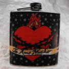 "Stainless Steel Flask - 6oz., Sacred Heart with ""Te Amo Mucho"" Banner on Polka Dot Background"