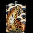 Stainless Steel Flask - 8oz., Tiger on Fan Print Background
