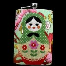 Stainless Steel Flask - 8oz., Russian Nesting Doll with Colorful Background Pattern