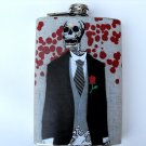 Stainless Steel Flask - 8oz., Day of the Dead Skeleton Groom