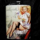Stainless Steel Flask - 8oz., Pin Up Girl in with Writing Background