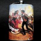Stainless Steel Flask - 8oz., Spanish Dancers Scene
