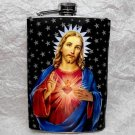 Stainless Steel Flask - 8oz., Jesus with Black and White Background