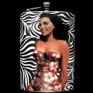 Stainless Steel Flask - 8oz., Pin Up Girl in Swim Suit, Zebra Background