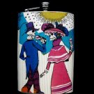 Stainless Steel Flask - 8oz., Day of the Dead Couple with White Flower Background