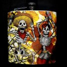 Stainless Steel Flask - 6oz., Day of the Dead Couple with Yellow Leaf Background