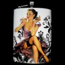 Stainless Steel Flask - 8oz., Pin Up Girl in Purple with Black and White Background