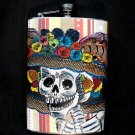 Stainless Steel Flask - 8oz., Catrina with Lined Background