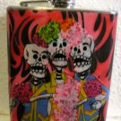 Stainless Steel Flask - 6oz., Day of the Dead Trio with Black and Pink Background