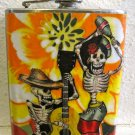 Stainless Steel Flask - 6oz., Day of the Dead Couple with Black and Orange Flowers Background