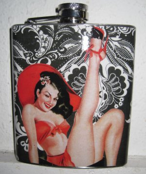 Stainless Steel Flask - 8oz., Pin Up Girl in Red with Black and White Background