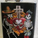 Stainless Steel Flask - 6oz., Day of the Dead Couple with Sacred Heart and Cross