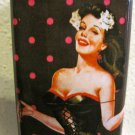 Stainless Steel Flask - 8oz., Pin Up Girl with Pink and Black Background