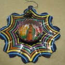 Hand Painted Metal Flower, Multi Colors with Spider and Virgin Mary Picture in Bottle Cap