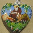 Two Sided, Hand Painted Porcelain Heart, Mary and Jesus and Apostle