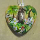 Two Sided, Hand Painted Porcelain Heart, Apostle with Mary and Jesus