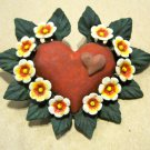 Hand Painted Clay Heart, Yellow Flowers