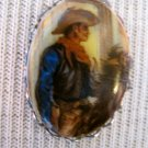 Small Oval Cameo Necklace, Cowboy Print, Silver Chain