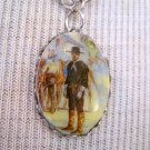 Small Oval Cameo Necklace, Cowboy in Black Print, Silver Chain